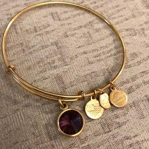 Alex and Ani Gold Amethyst Bracelet
